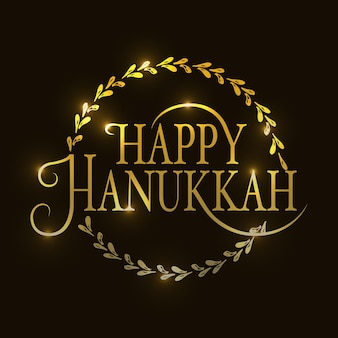 Hand sketched golden happy hanukkah logotype badge and icon typography hand drawn happy hanukkah