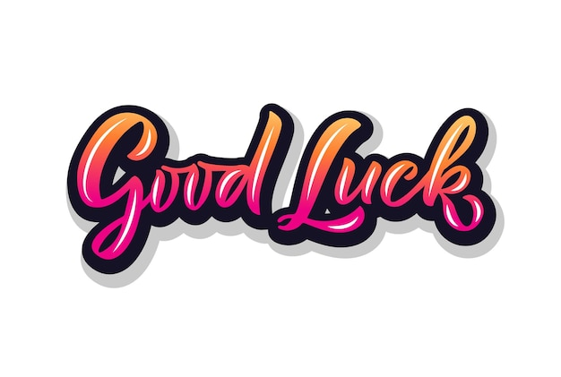 Hand sketched good luck lettering typography handwritten inspirational quote good luck hand drawn