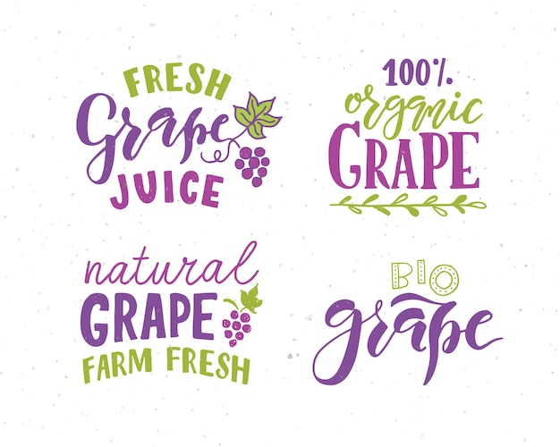 Hand sketched grape lettering typography concept for farmers market organic food natural product