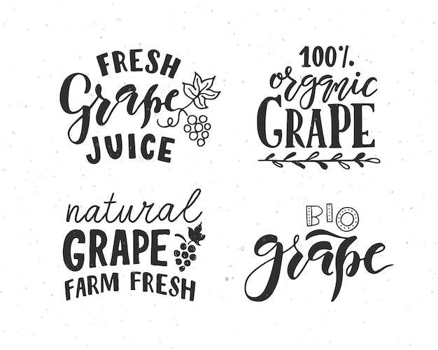 Hand sketched grape lettering typography concept for farmers marketorganic food natural product