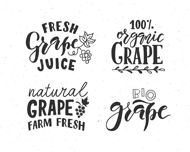 농민 시장 유기농 식품 천연 제품에 대한 손으로 스케치된 포도 레터링 타이포그래피 개념