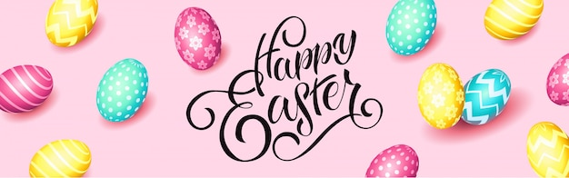 Hand sketched happy easter text, sale tag. hand drawn easter sale special offer poster, online shopping banner template, lettering typography. motivational text with egg frame on pink background