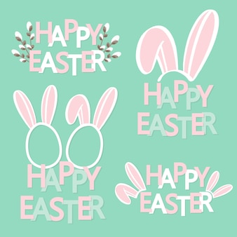 Hand sketched happy easter text with bunny ears.