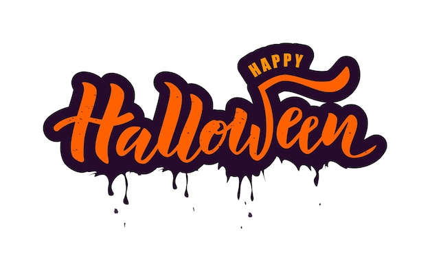 Hand sketched happy halloween text on textured background.