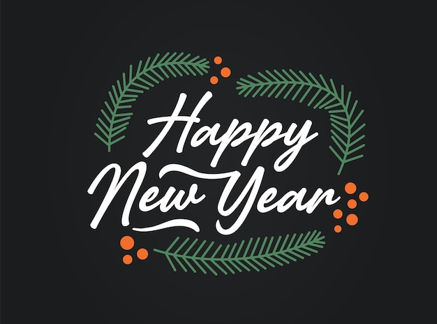 Hand sketched happy new year card, badge, icon typography. lettering  happy new year for christmas, new year greeting card, invitation template, banner, poster. vector eps10