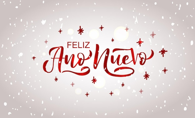 Hand sketched happy new year in spanish card badge icon typography lettering feliz ano nuevo for