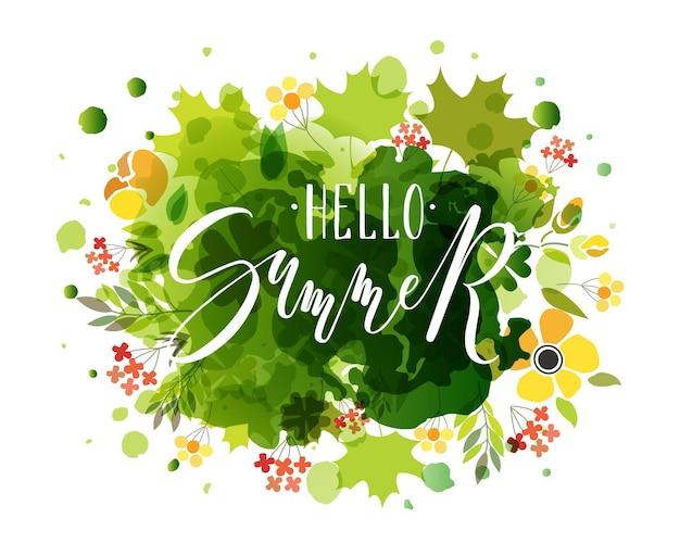 로고형 배지 및 아이콘 hello summer 엽서 카드 초대장으로 hello summer 텍스트를 손으로 스케치했습니다.