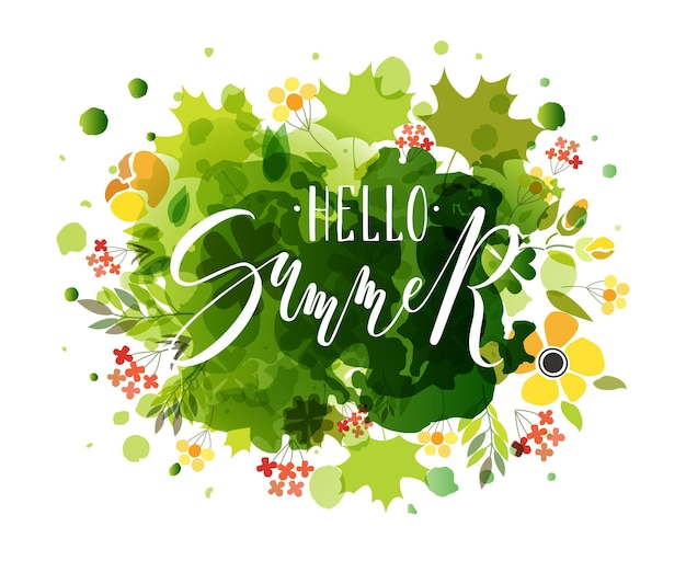 Hand sketched hello summer text as logotype badge and icon hello summer postcard card invitation