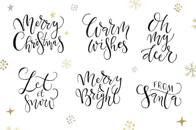 Ручной набросал логотип значок значок типографии набор для рождества новогодний праздничный сезон надписи