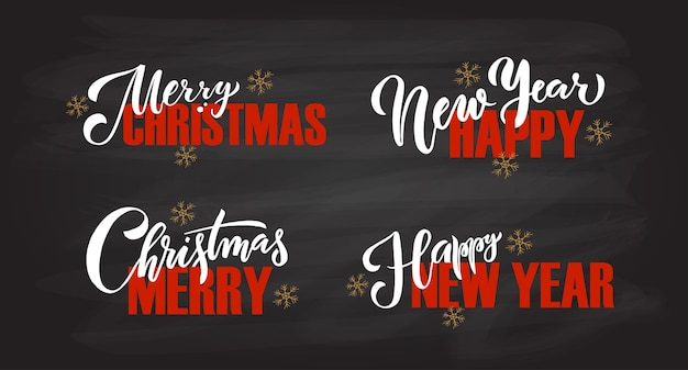 손으로 스케치한 로고 타입 배지 아이콘 타이포그래피는 크리스마스 새해 휴가 시즌 레터링을 위해 설정되었습니다.