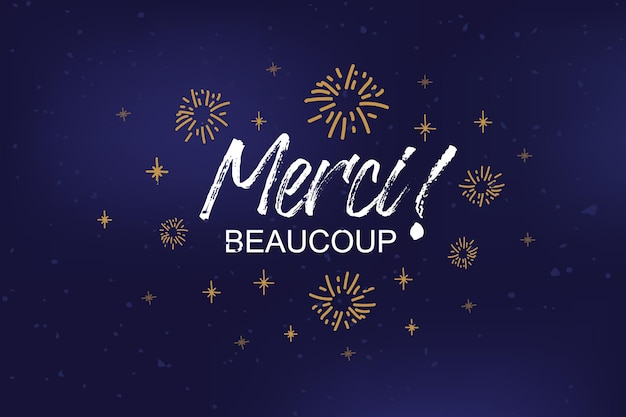 Hand sketched merci beaucoup text as logotype badge and icon merci postcard invitation poster