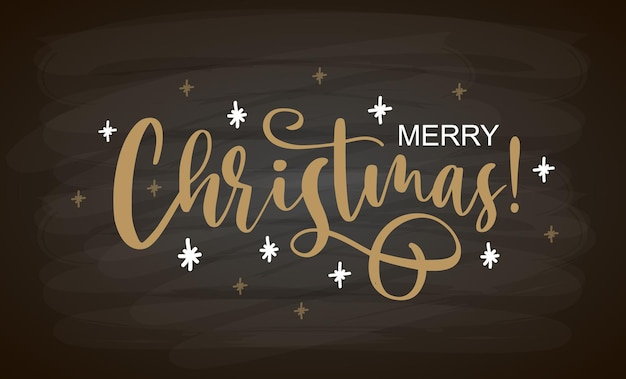 Hand sketched merry christmas card badge icon typography lettering merry christmas for christmas