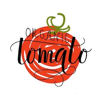 농민 시장 유기농 식품에 대한 손으로 스케치된 유기농 토마토 레터링 타이포그래피 개념