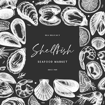 Hand sketched seafood  on chalkboard. delicacy frame on chalkboard. perfect for restaurant recipe, menu, delivery packaging. vintage shellfish template. healthy food elements.