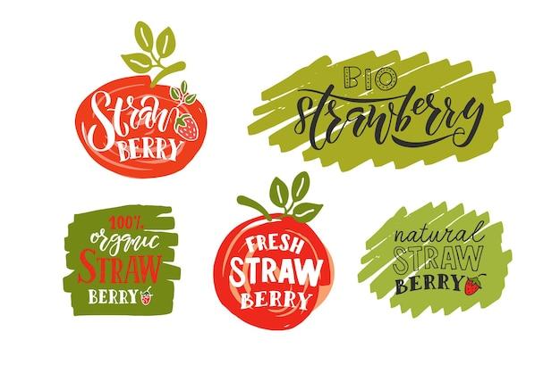 농민 시장유기농 식품천연 제품에 대한 손으로 스케치한 딸기 레터링 타이포그래피 개념