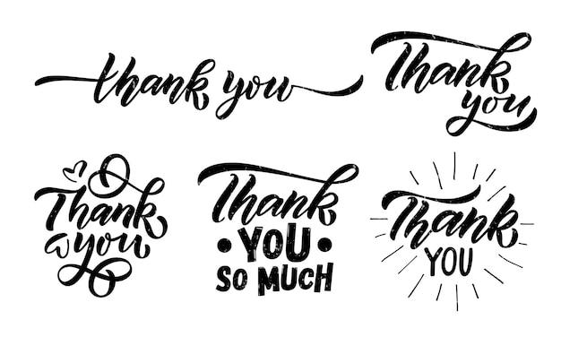 손으로 스케치한 감사 레터링 타이포그래피 손으로 쓴 영감을 주는 인용문 감사합니다 손으로 그린