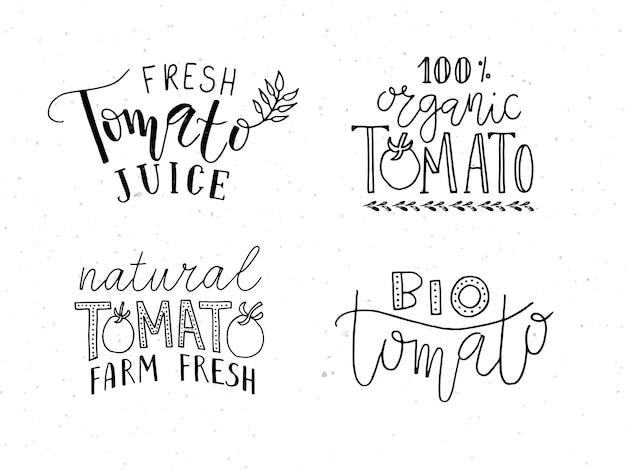 손으로 스케치한 토마토 제품 레터링 타이포그래피는 농민 시장 유기농 식품에 대한 개념을 설정합니다.