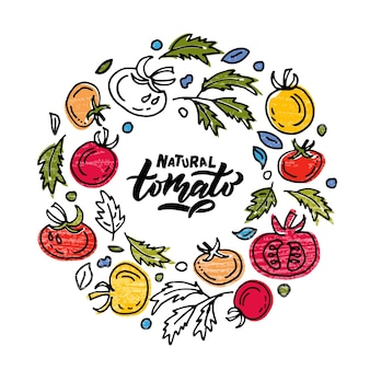 Hand sketched tomato product lettering typography