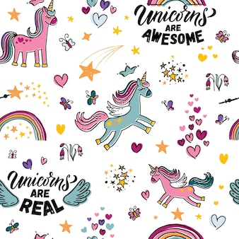 Hand sketched unicorn vector illustration endless pattern with lettering typography quotes