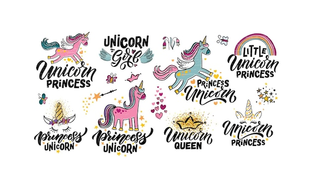 Hand sketched unicorn vector illustration patterns with lettering typography quotes motivational