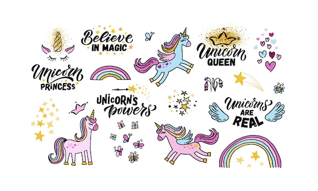 Hand sketched unicorns set vector illustration with lettering typography quotes motivational