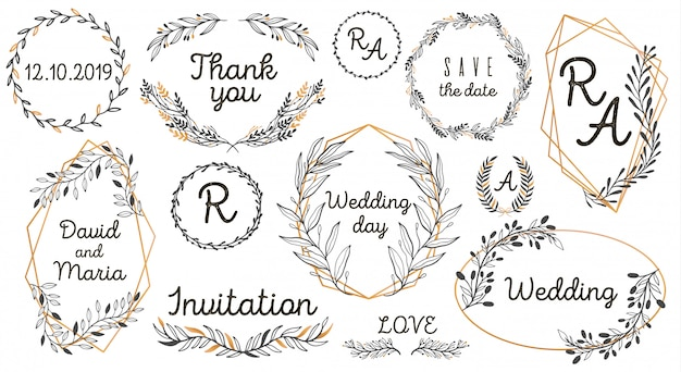 Hand sketched vector vintage elements: wreath, leaves, frame.