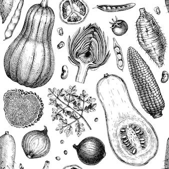 손으로 그린 야채, 버섯, 허브는 매끄러운 패턴입니다. 건강 식품 재료 배경입니다. 포장지, 직물, 웨딩 배너, 브랜딩, 광고에 적합합니다. 벡터 일러스트 레이 션.
