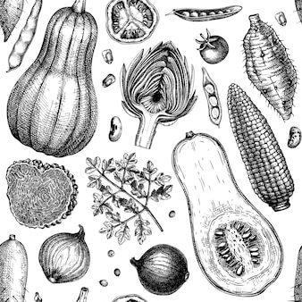 Hand-sketched vegetables, mushrooms, herbs seamless pattern. healthy food ingredients background. perfect for wrapping paper, fabrics, wed banners, branding, ads.  vector illustration.