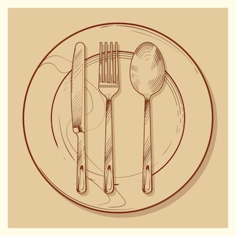 Hand sketched vintage cutlery and plate  illustration