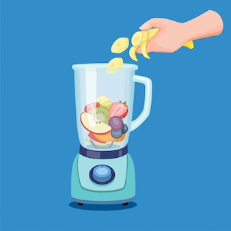 Hand slice fruit to blender, making healthy drink juice smoothies in food processor in cartoon illustration