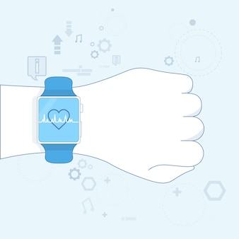 Hand smart watch heart pulse monitor icon vector illustration