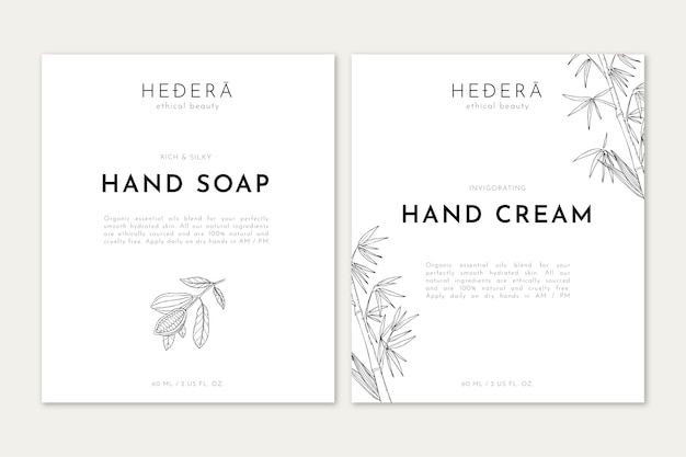 Hand soap and cream with line art illustration