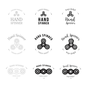 Hand spinner set vector logo template for your design. hand spinner tricks badges, labels, banners, advertisements, brochures, business templates. vector illustration isolated on white background.
