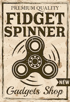 Hand spinner sohop poster in vintage style illustration for advertising