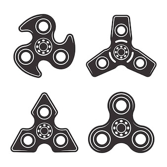 Hand spinners set of four types black design elements isolated on white background