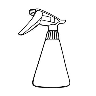 화이트 절연 식물에 대 한 손 분무기입니다. 낙서 스타일의 그림.