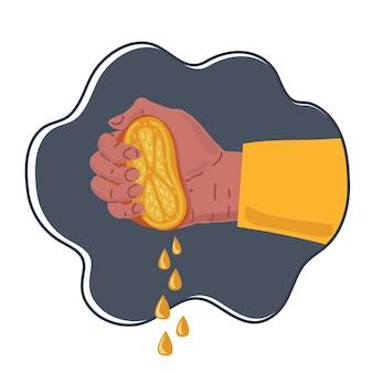 手で新鮮な熟したオレンジを絞る