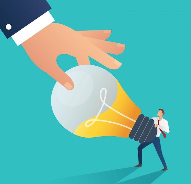 アイデア電球を盗む手。盗作の概念