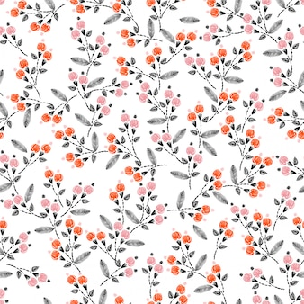 Hand stitch embroidery seamless pattern with liberty small flowers decoration vector illustration. hand drawn elements. design for home decor, fashion, fabric, wrapping, wallpaper