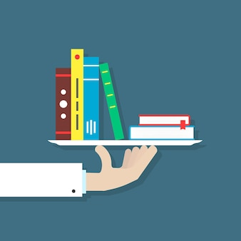 Hand in suit holding books on plate. concept of info, bibliography, bestseller mobile app, brochure, editor, hobby, research. flat style trend modern design vector illustration on blue background