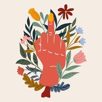 Mano circondata da fiori che mostrano il dito medio
