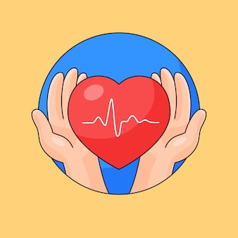 Hand take care heart beat healthy outline cartoon style illustration