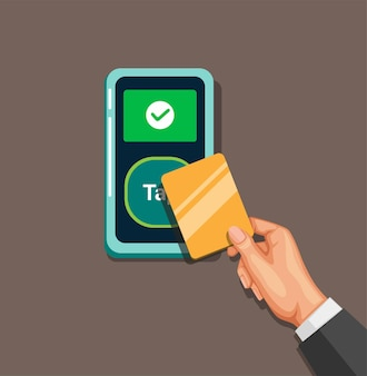Hand tap card contacless payment in cartoon