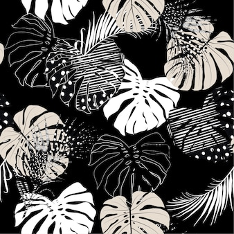 Hand textured tropical leaves seamless pattern
