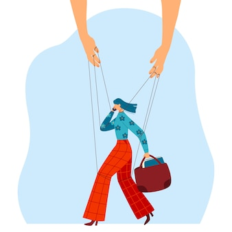 Hand thread control, female character, businesswoman walk, bag,  on white,   illustration. woman talk mobile phone.