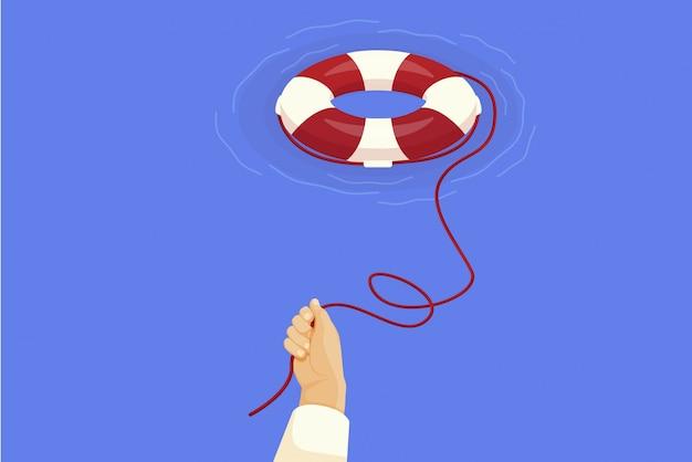 Hand throws life buoy. illustration survival in economic crisis and quarantine.