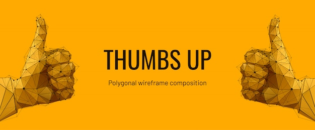 Hand, thumb up. low polygon wireframe