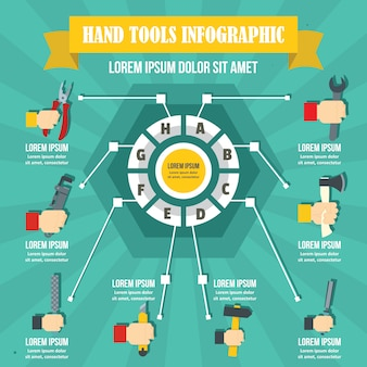Hand tool infographic, flat style