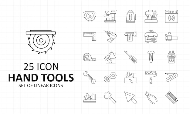 Hand tools icon sheet pixel perfect icons