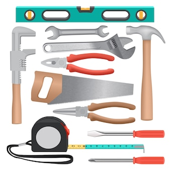 Hand tools mockup set. realistic illustration of 11 hand tools mockups for web